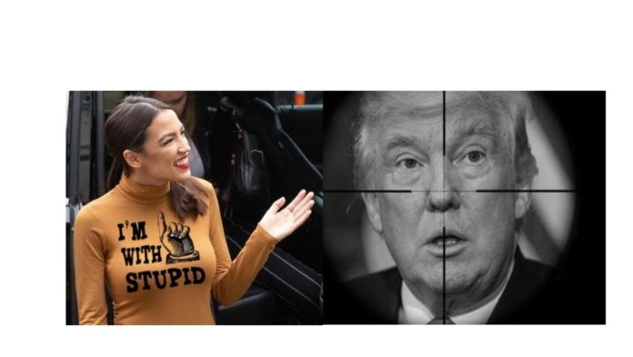 Donald Trump in the crosshairs, AOC clueless