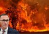 Richard Di Natale with bushfire background