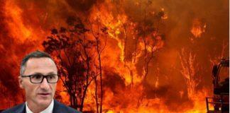 Richard Di Natale with bushfire background
