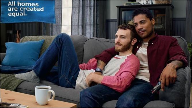 Diverse gay couple in Ikea advert