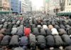 Muslims street prayer in Paris