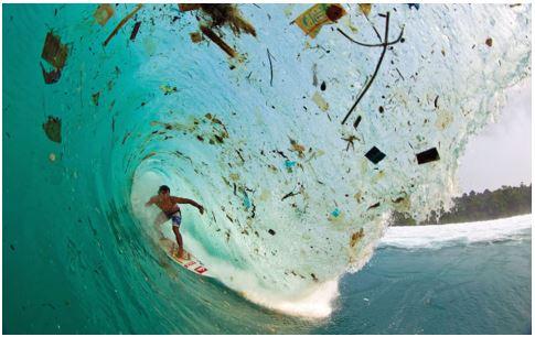 Ocean plastic ruining waves for surfers.