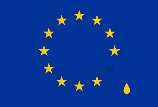 European Flag with tear drop