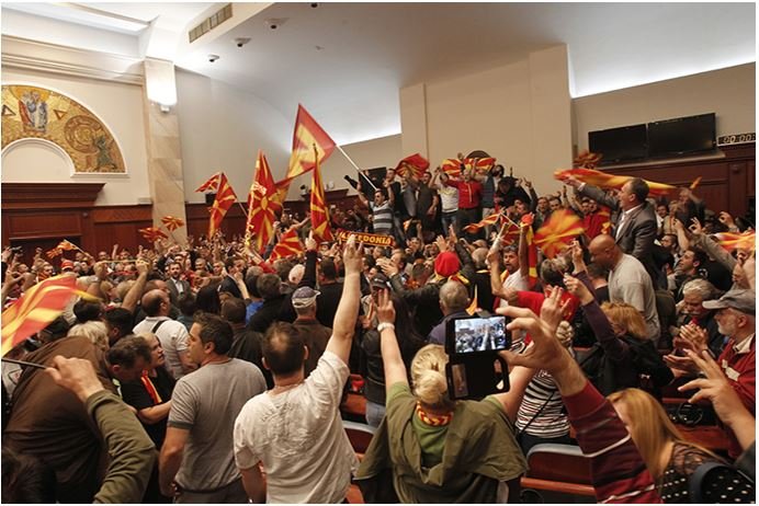 Macedonians protest in parliament against Globalist agendas and Islam