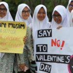 Muslims protesting valentines day