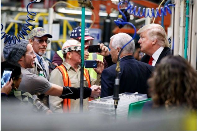 Trump meeting factory workers, he never lied to them.