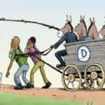 Cartoon democrat donkeys harness black men