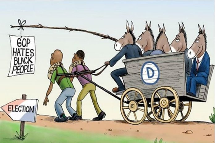 Cartoon democrat donkeys harness black men
